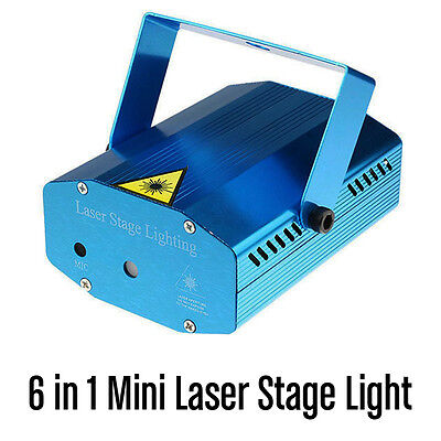 6 in 1 Mini Laser Stage Lighting Green and Red Star Twirling Amazing Patterns DJ