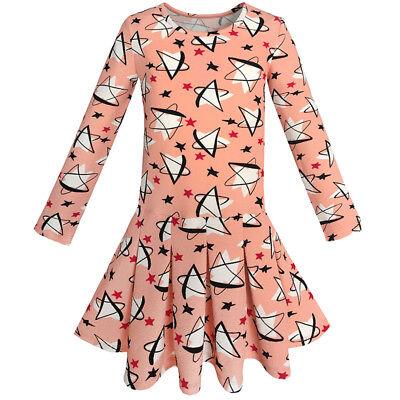 Mädchen Kleid Stern Drucken Coral Täglich Schule Frühling Kleid Gr. 98-134