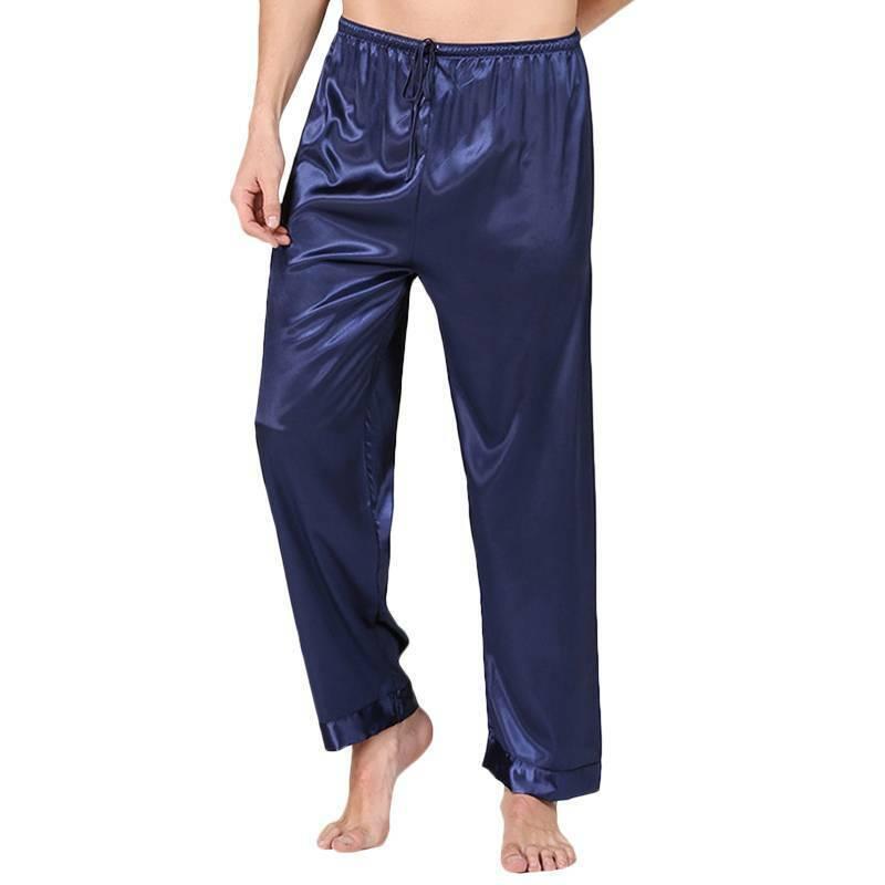 Mens Silk Satin Pajamas Long Pants Yoga Bottoms Nightwear Sleepwear Trousers Clothing, Shoes & Accessories