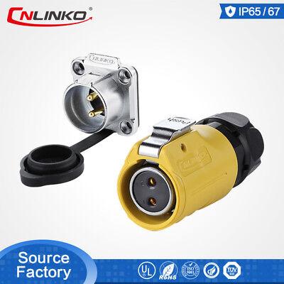 Cnlinko M20 2 Pin Male Female Plug Socket Waterproof Power Circular Connector