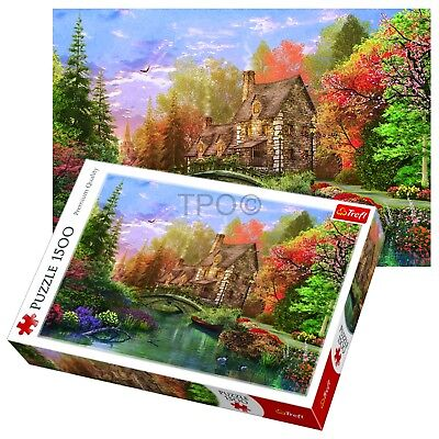 Trefl 1500 Piece Adult Lake Cottage Scenery Grass Trees Large Jigsaw Puzzle NEW