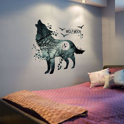 DIY Removable Howling Wolf and Moon DIY Wall Sticker Decal Art Home  Decor DJ8X