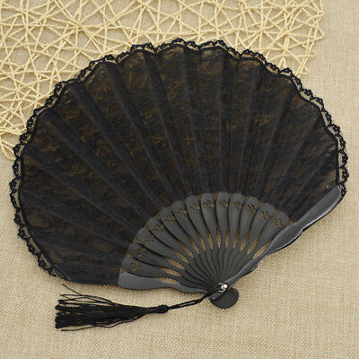 Black Lace Hand Fan With Tassel Portable Pocket Folding Gift Floral Edge - Black Lace Fans