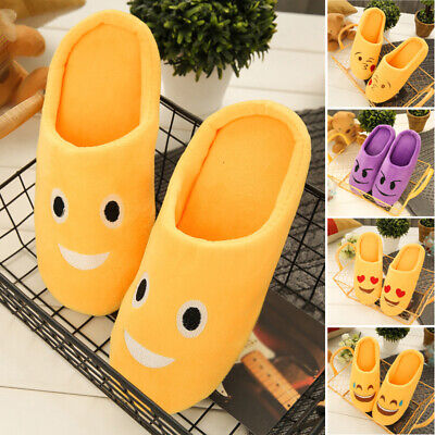 Funny Slippers For Adults (Emoji House Slippers Funny Soft Plush For Adults Kids Teens Bedroom Print)