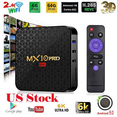 MX10 PRO Smart TV Box 4G+64G Android9.0 WiFi Quad-Core 4K HD Media Player Z1D4