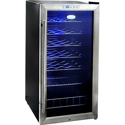 Stainless Steel 27 Bottle Wine Cooler, Blue ...