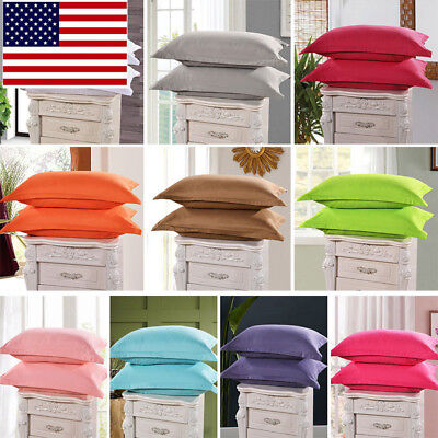 Clearance Pure Color  2 PCs Solid Pillowcase Soft Pillow Envelope Cover Bedding (Envelope Pillowcases)