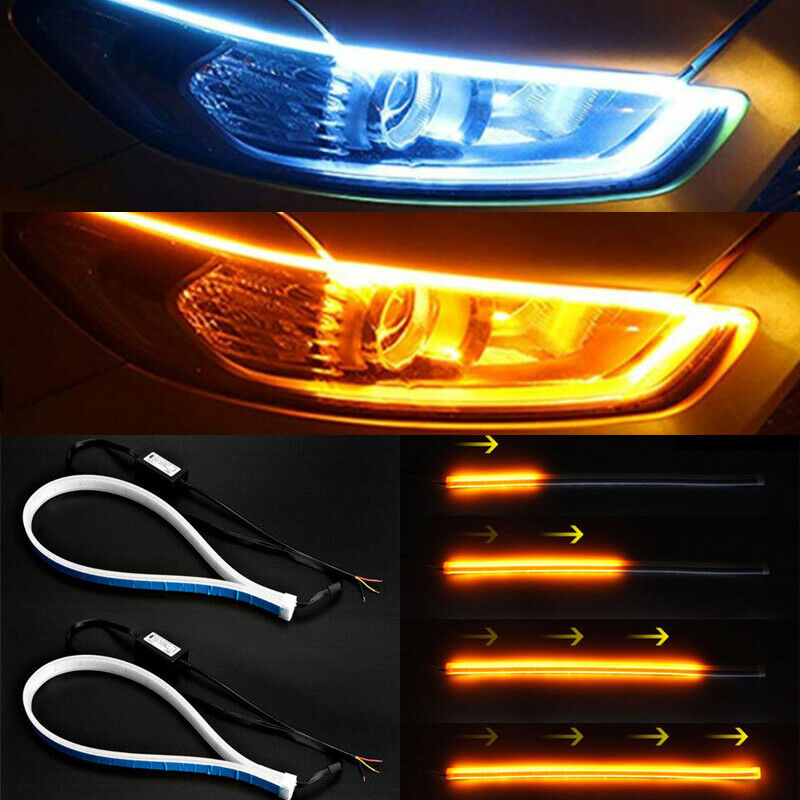 2Pcs 45cm Ultra Thin Car Soft Tube LED Strip Light  Daytime Running Decor Lamp