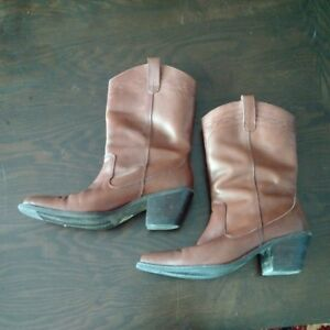 Women's brown leather cowboy boots - new