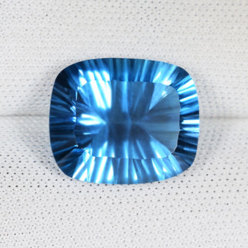 7.53 ct TOP LUSTROUS -  NATURAL SWISS BLUE TOPAZ Cushion CONCAVE   See Vdo 9025B