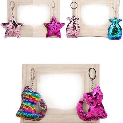 Cute Sequins Key Chain Bag Accessories Key Ring Mermaid Cat Star Women Girls 1PC