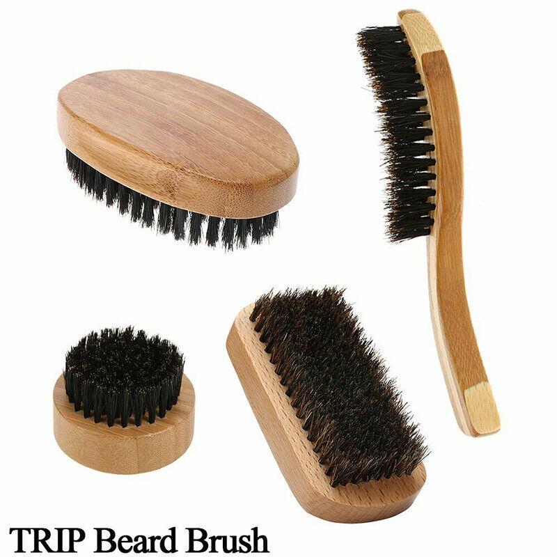 Men Boar Hair Bristle Beard Mustache Brush Military Round Wo
