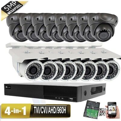 5MP 16CH All-in-1 DVR 5MP 4-in-1 AHD Security Camera System 3TB HDD USB IP66 9k
