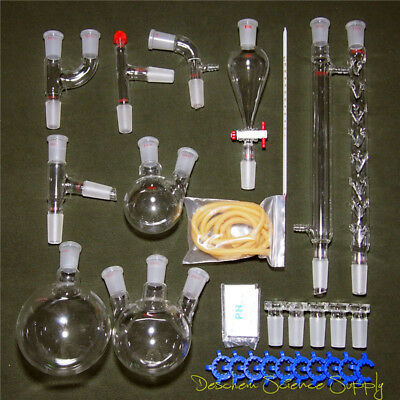Organic Chemistry Lab Glassware Kit 29 Pieces Set Lab Chemical Supplies Unit New
