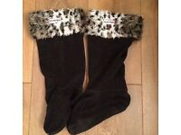 Hunter Leopard Welly Sock Feet Warmers. Size M - Uk 3-5
