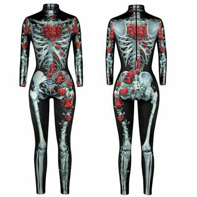 Damen Kostüm Halloween Strampelhöschen 3D Skelett Deko Bodysuit Party Cosplay