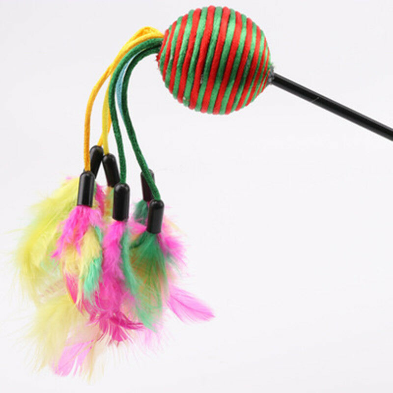 Colorful Cat Teaser Toy Funny Cat Stick Beaded Feather Charmer Cat Stick Epic