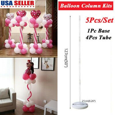 Balloon Column Kit (5 Pcs Balloon Column Stand Base Tube Ballons Display Kit Wedding Party Decor)