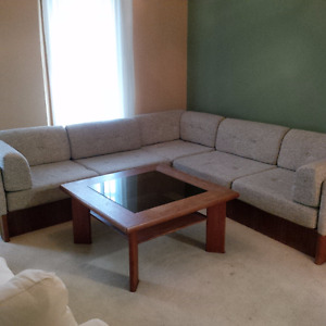 Teak couch and coffee table for sale in Hamilton
