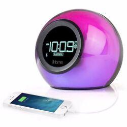 iHome iBT29BC Bluetooth Color Changing Dual Alarm Clock FM Radio with USB