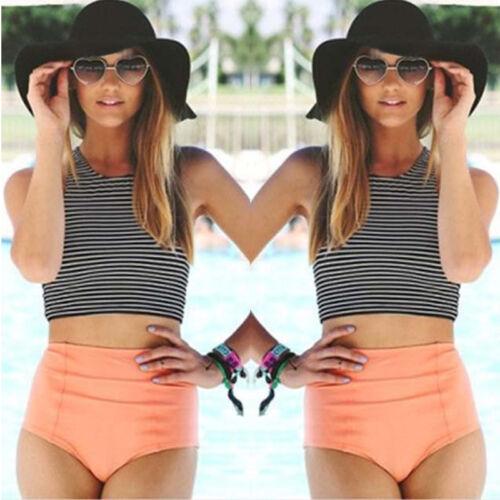 Damen Gestreift Bikini Set Crop Top High Waist Bikinihose Bademode Badeanzug 42