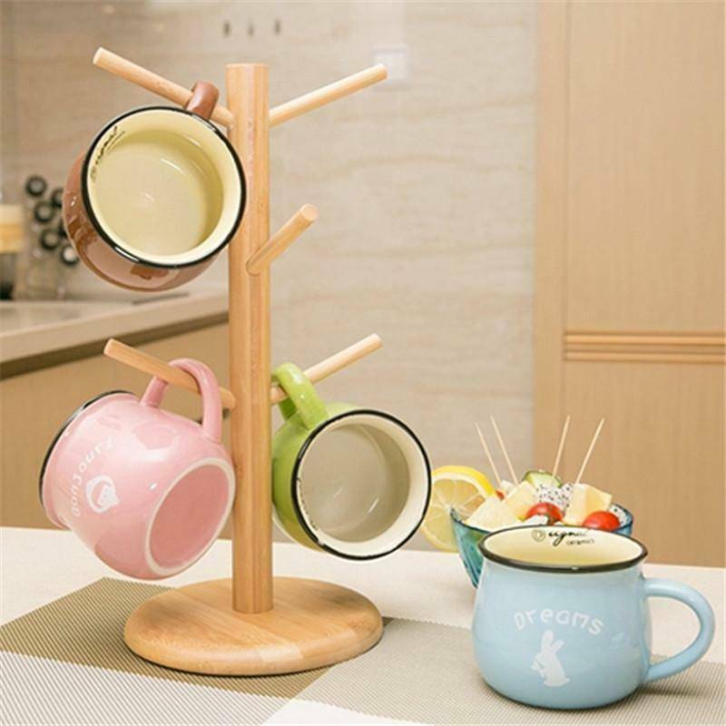 Wooden Mug Cup Rack Coffee Cup Holder Tree Stand Rack Kitche