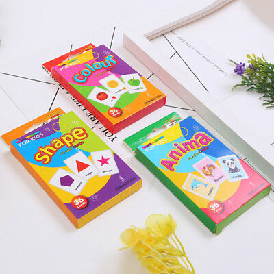 36pcs/Set Kid English Early Learning Color Card Paper Educational Preschool Toys