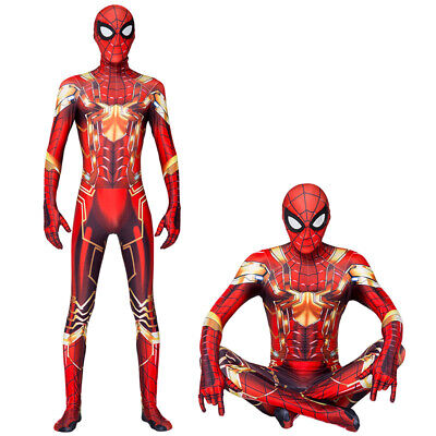 Golden Iron Spider-Man Cosplay Costume Spiderman Zentai Suit  For Adult & Kids