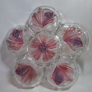 Relish Dish Pinks Floral Heavy Glass Beautiful Kitchener / Waterloo Kitchener Area image 2