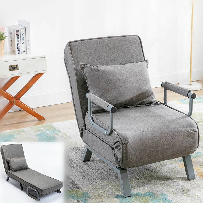 Sofa Bed Folding Arm Chair 18°- 90° Convertible Sleeper Recliner Adjustable Back