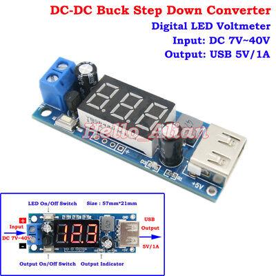 Led Dc-dc Buck Step Down Converter 7-40v 9v 12v 24v 36v To 5v 1a Car Usb Charger