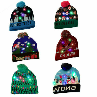 Christmas Hats With Lights (Unisex Christmas Knitted Cap LED Colorful Lights Warm Hats Winter Ski)