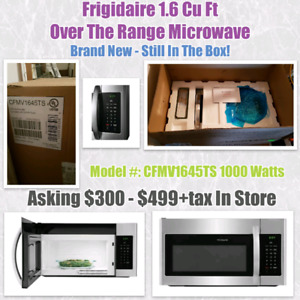 Frigidaire 1.6 Cu Ft Over The Range Microwave NEW!