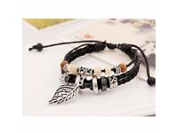 Men's layered bead detail leather style wristband bracelet for men - new £4.99