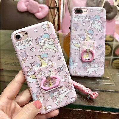 Cute Little Twin Stars Ring strap soft case cover for iphone X XS Max 8 6 7 plus ()
