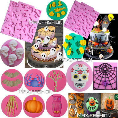 Silicone Halloween Fondant Mold Cake Chocolate Baking Sugarcraft Decor Mould DIY