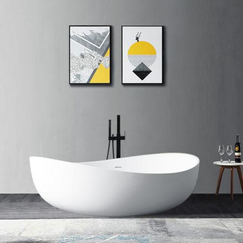 "71"" Glossy White Oval Freestanding Bathtub Stone Resin Soaking Tub&Center Drain"