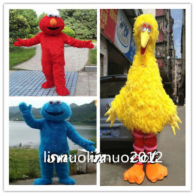 Big Bird Elmo Cookie Sesame Street Mascot Costume Fancy Dress Adult Size
