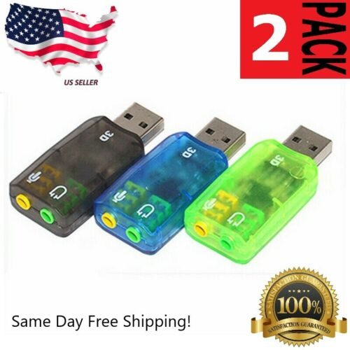 2-Pack USB 3d Audio Sound Card Microphone Headset Adapter
