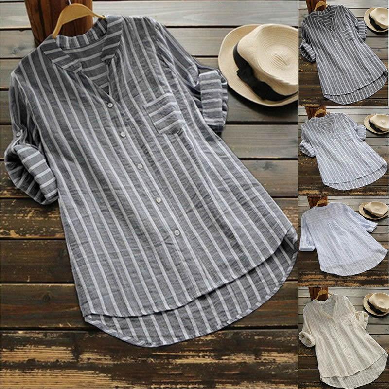 Damen Gestreift Bluse Baggy Hemd Lose Tunika Übergröße Minikleid Tops Long Shirt