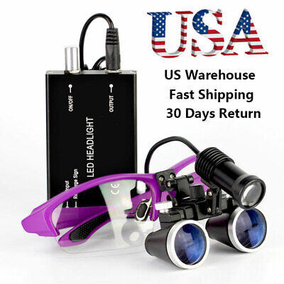 3.5x Binocular Dental Loupes With 5w Led Head Light Medical Surgical Glasses