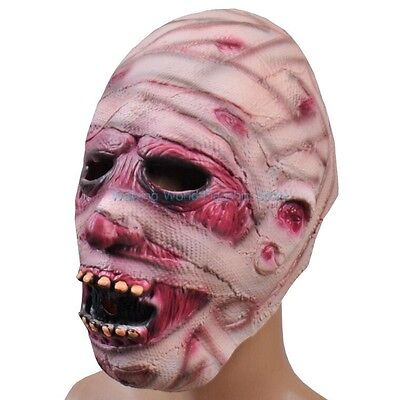 Halloween Scary Creepy Mummy Zombie Face Head Mask Latex Mask Costume Party Toys - Mummy Halloween Face