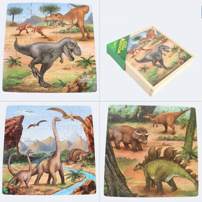 1 BOX Wooden Kids Toys Puzzle Jigsaw Toddlers Dinosaur Traffic Set Popular
