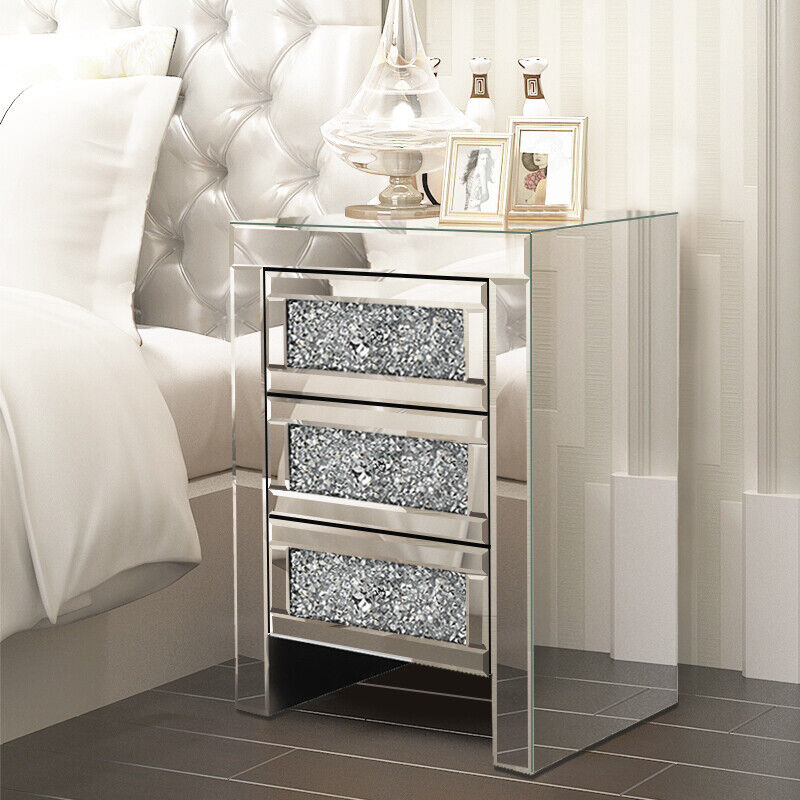 Glass Mirrored Bedroom Bedside Table Unit Crystal Side