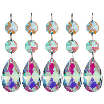 5Pcs Colorful Crystals Hanging Drops Pendants Chandelier Lamp Prisms Parts