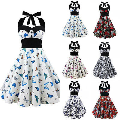 Women Skull Printed 50s Rockabilly Swing Dress Flared Vintage Pin Up Party Dance