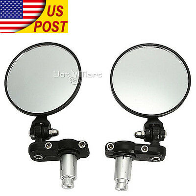 """Motorcycle 3"""" Round 7/8"""" 1""""Handle Bar End Rearview Fold Mirrors Fit For Suzuki"""