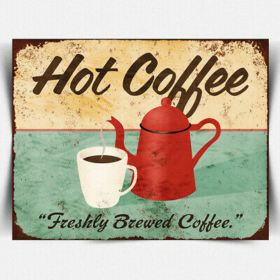 HOT Coffee METAL PLAQUE WALL SIGN Vintage Retro kitchen cafe gift coffee cup