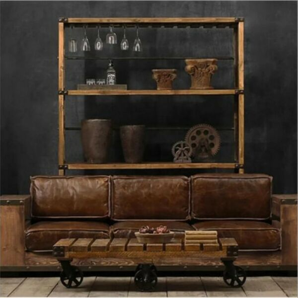 Sofa001 PO Retro Vintage Loft Industrial Solid Wood