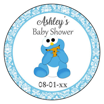 Cookie Monster Baby Shower Birthday Party Favor Round Labels - Monster Baby Shower
